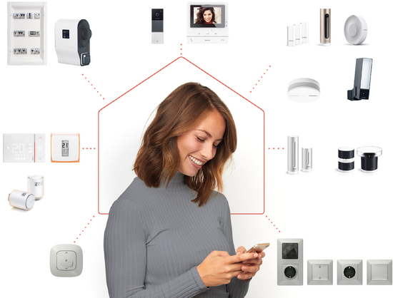 Lady showing all smart home products for more comfort and security