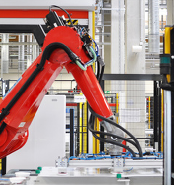 Robot in a production plant producing equipment