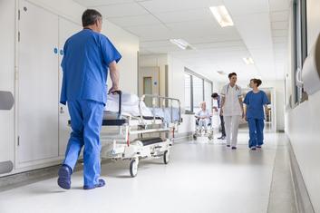 Staff in corridor of a hospital
