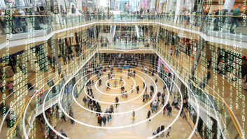 Large shopping mall with big data everywhere